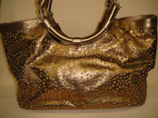 JIMMY CHOO Bronze Metallic Perforated Leather Star Hobo Handbag Cut Out Circle