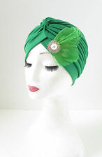 Green White Silver Feather Turban Cloche 1920s Headpiece Flapper Vintage 30s 149