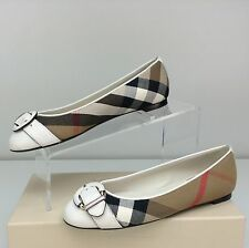Burberry Lilyana Natural House Check Derby Leather Ballet Flat 37 / 7 Ballerina