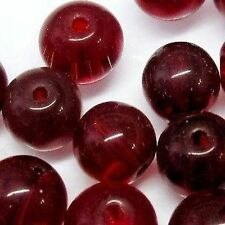 200 x 4mm Crystal Glass Round Beads - Dark Red - A3622