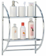 CHROME 2 TIER WALL MOUNTED METAL BATHROOM SHELF STORAGE RACK TOWEL HOLDER RAILS