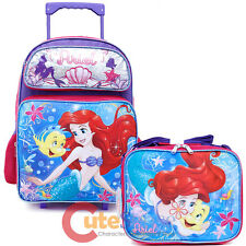 "Little Mermaid Ariel School Roller Backpack 16"" Large with Lunch Bag 2pc Set"