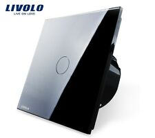Spar Angebot! SET aus 5 Touch Lichtschalter Livolo Schwarz Kristall Glas