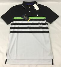 Ralph Lauren Men Performance Sport Polo Shirt Black White Lime Green Stripe L