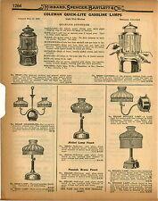 1926 PAPER AD 3 PG Coleman Quick Lite Gas Gasoline Lamp Lamps Repair Parts List