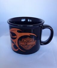 HARLEY DAVIDSON XL Coffee Cup Mug 2004 Black & Orange w/ Flames Collectors Cup