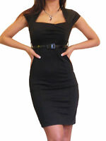 Womens Dress Office BodyCon Pencil Work Jersey Elegant New Size 8 10 12 14 16 18