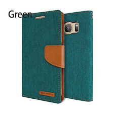 Canvas Leather Slim Flip Holder Wallet Case Card Holster For Galaxy S7 iPhone LG