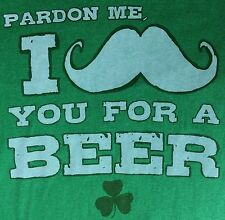 "Mens St. Patricks Day ""I Mustache You For A Beer"" Funny Graphic Green T-Shirt L"