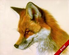CLEVER TRICKY LOOKING FOX WILD ANIMAL PAINTING WILDERNESS ART REAL CANVAS PRINT