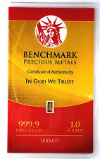 1/15 GRAM =1Gn 24K PURE GOLD .999 FINE BENCHMARK STRATEGIC METALS& CERT B9e
