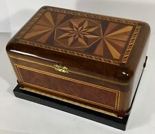 Vintage Handmade Wood Box With Exotic Hardwood Burlewood Inlay Quilted Lining