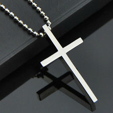 Fashion Gift Men's  Stainless Steel Cross Pendant Necklace Chain Silver