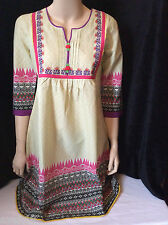 NEW wTAG Biba Embroidered Peasant Top Tunic Boho Shirt Blouse L -XL Kurti Green