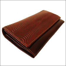 Womens Genuine Leather Wallet Indian Hand Tooled Shantiniketan Clutch Bag Brown
