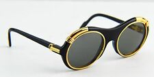 Auth Cartier C Decor Diabolo Gold Plated Black Sunglasses 130 53 21
