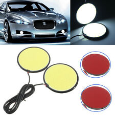 2x 70mm 100 LED COB Car DRL Daytime Running Light Fog Lamp Round White 6000K 12V