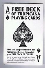 Tropicana Hotel Casino Free Deck Of Cards Coupon Las Vegas Nevada