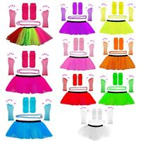 1980's FANCY DRESS NEON UV TUTU SKIRT GLOVES LEG WARMERS BEADS HEN PARTY