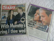 PRINCE WILLIAM & KATE MIDDLETON ENGAGEMENT NEWSPAPER & SUPPLEMENT 2010