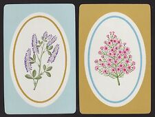 2 SINGLE VINTAGE SWAP PLAYING CARDS ID FLOWERS 'FLORAL OVALS FO-7-8 & 7-9'