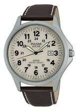 Pulsar Man's Watch Solar Gents Watch Cream Dial Brown Leather Strap PX3007X1