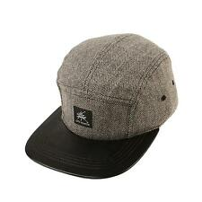 Wool Herringbone 5 Panel Faux Leather Snapback Cadet Cap Hat Adjustable Gray