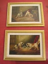 TWO ANTIQUE OIL PAINTINGS by THOMAS PERCY EARL OF TERRIERS AT PLAY