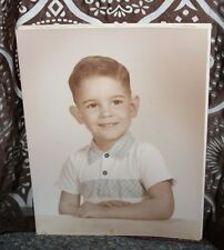 1960 s 16 X 20 Color Tinted photograph of Happy Face Dark Hair 5 year old Boy