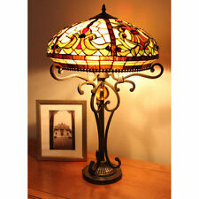 "Tiffany Style Stained Glass Yellow  Baroque Table Lamp 2 Light 18"" Shade New"
