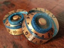 2 Guitar speed volume / tone knobs.. Turquoise Fk/Gold. JAT CUSTOM GUITAR PARTS