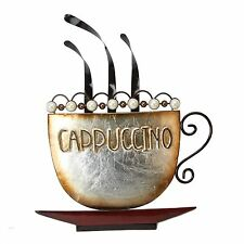Contemporary Steaming Cappuccino Coffee Cup Metal Wall Art  Brown & Pearl Beads