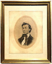 Intriguing FINE 19th Century Realism PEN INK DRAWING GOUACHE PAINTING Portrait