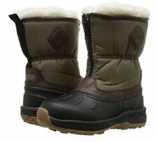 New Carter's Toddler Boys Black/Brow Fur Collar Snow Boots Shoes Easy Zip Up 6