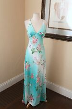 Cache Blue Floral Beaded Evening Formal Dress Size 4 Gown White Flower