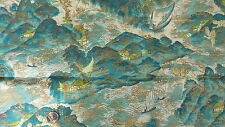 """Vintage Cotton Fabric TURQUOISE MOUNTAINS,GOLD ASIAN COUNTRY SCENE 1 Yd/36"""" Wide"""