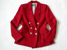 RIVER ISLAND RED DOUBLE BREASTED BLAZER WITH GOLD BUTTONS SIZE 8