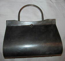 50's LUCITE bakelite pearlescent gray clam shell clear sides clutch purse bag