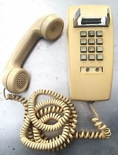 Vintage Western Electric Bell Wall Telephone Push Button Yellow / Beige 2554