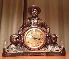 """Rare Antique United 1933 """"Will Rogers"""" Early """"Spin Start"""" Lighted Clock Runs EXC"""