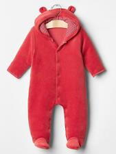 Baby Gap NWT Red Velour Bear Footed Hoodie Outerwear Romper 3-6 $40