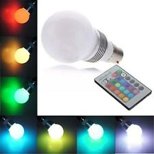 B22 3W 16 Color Changing RGB LED Light Bayonet Bulb Remote Control Globe Lamp CB