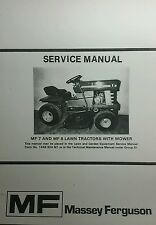Massey Ferguson MF 7 & 8 Lawn Garden Tractor & Mower Service Manual 58pg Riding