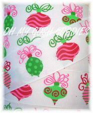 1.5 RETRO CHRISTMAS ORNAMENTS PINK LIME RED GROSGRAIN RIBBON 4 HAIRBOW BOW
