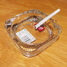 BEAUTIFUL GLASS CRYSTAL ASHTRAY SQUARE CUT FOR HOME,OFFICE,CLUB,BAR ETC