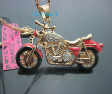 B568R   Betsey Johnson Crystal Enamel Motorcycle Pendant Sweater Chain Necklace