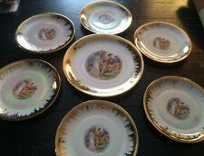 Vintage W F Bavaria Lucheon Dessert Set 7 Plates Luster Wear Roman Couple Cherub