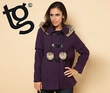 BNWT NEW LADIES TG PURPLE HOODED DUFFLE COAT FUR TRIM 10 JACKET WINTER