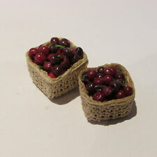 Dollhouse miniature food ~ black cherries in two boxes ~ 12th scale