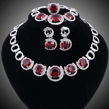 Women Silver/Plated Ruby Crystal Necklace Bracelet Earring Ring Jewelry Set